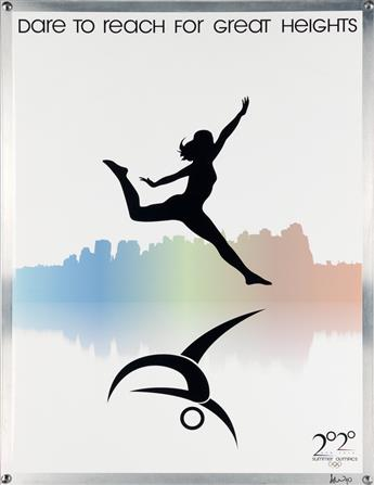 AMANDA WEEKS (DATES UNKNOWN). NEW YORK SUMMER OLYMPICS 2020. Poster & 9 postcards. 2010. 41x32 inches, 106x83 cm.