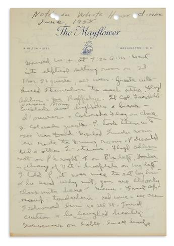 DWIGHT D. EISENHOWER. Autograph Manuscript, unsigned, in pencil, entitled Notes on White House dinner June, 1958,...