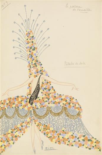 ZIG (LOUIS GAUDIN).  (COSTUME / PARIS / FOLLIES) Pétales de soie.