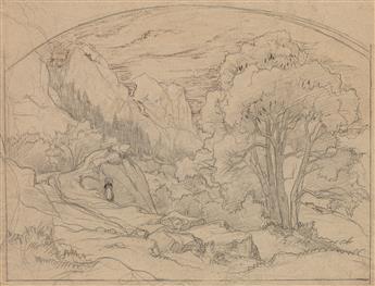 ÉDOUARD BERTIN (Paris 1797-1871 Paris) Three pencil drawings.