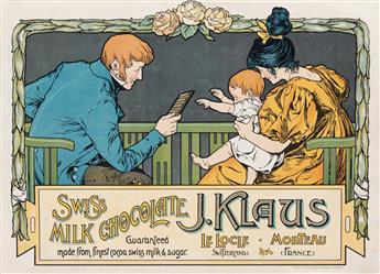 DESIGNER UNKNOWN. J. KLAUS / SWISS MILK CHOCOLATE. 1905. 18x25 inches, 46x64 cm. William Pick & Sons, Prague.