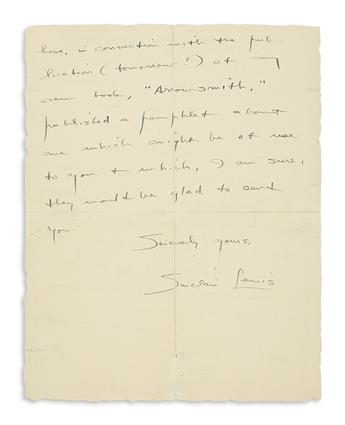 LEWIS, SINCLAIR. Autograph Letter Signed, to Dear Mr. Glick,