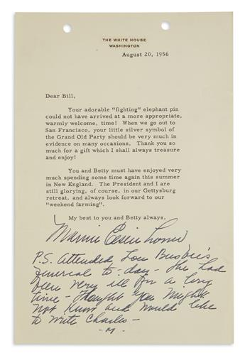MAMIE DOUD EISENHOWER. Typed Letter Signed, as First Lady, to William Tompkins (Dear Bill), thanking for the g...