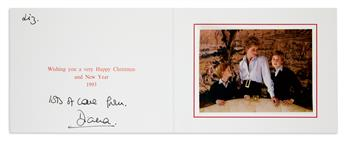 DIANA; PRINCESS OF WALES. Three Christmas cards, Inscribed and Signed, Diana, to Elizabeth Tilberis.
