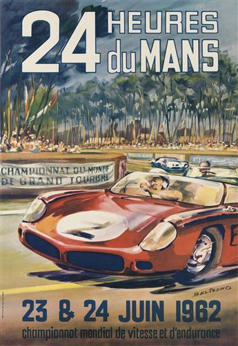 MICHEL BELIGOND (1927-1973). 24 HEURES DU MANS. 1962. 22x15 inches, 57x39 cm. Thivillier, Paris.