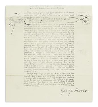 MOORE, GEORGE. Incomplete galley proof for part III of his serial article Moods and Memories Signed,