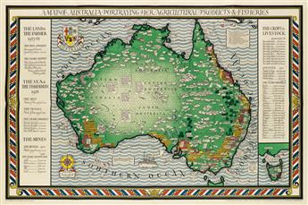 LESLIE MACDONALD GILL (1884-1947). A MAP OF AUSTRALIA PORTRAYING HER AGRICULTURAL PRODUCTS & FISHERIES. 1930. 40x60 inches, 101x152 cm.