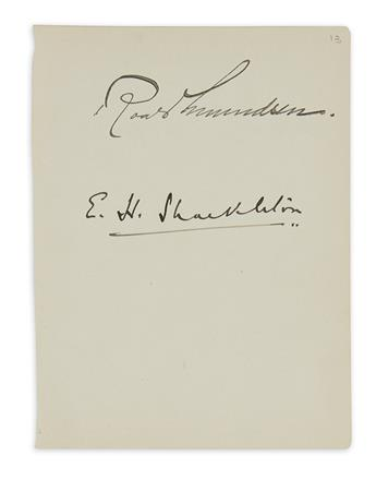 (EXPLORERS.) SHACKLETON, ERNEST HENRY; AND ROALD AMUNDSEN. Leaf removed from an album Signed by both, on the same page.