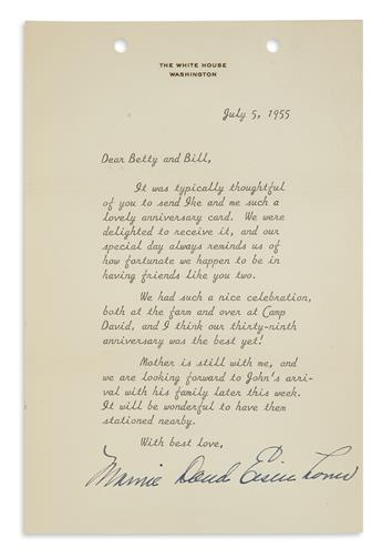MAMIE DOUD EISENHOWER. Group of 8 letters Signed, in full or Mamie Eisenhower or Mamie, each to Mr. and Mrs. William...