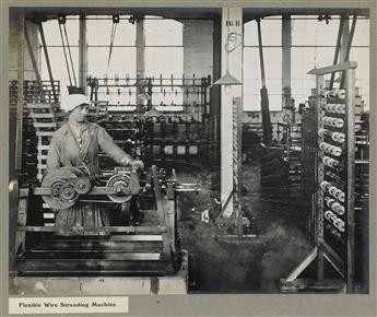 (PIRELLI-GENERAL--CABLE WORKS) Presentation album with 26 large-format photographs depicting cable manufacturing, offices, testing room