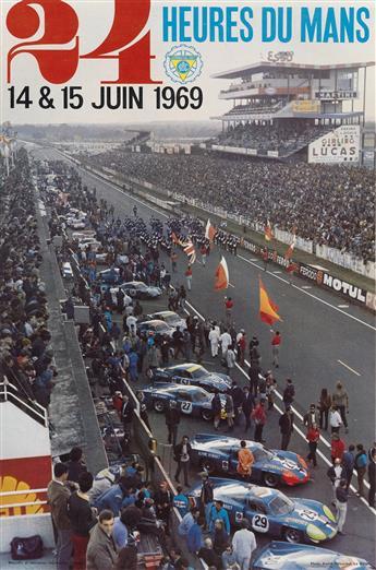 ANDRÉ DELOURMEL (DATES UNKNOWN). 24 HEURES DU MANS. 1969. 23x15 inches, 59x40 cm. Oberthur, Rennes.