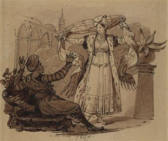 CHARLES ABRAHAM CHASSELAT (Paris 1782-1843 Paris) Group of 10 pen and brown ink and wash drawings.