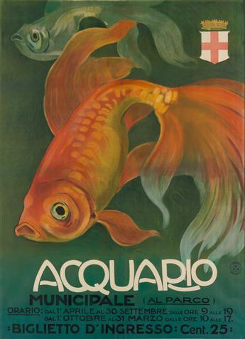 DESIGNER UNKNOWN. ACQUARIO. Circa 1910. 56x41 inches, 142x104 cm. G. Ricordi & C., Milan.