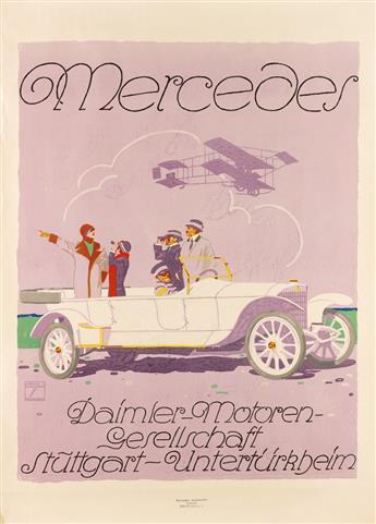 LUDWIG HOHLWEIN (1874-1949). MERCEDES / DAIMLER - MOTOREN - GESELLSCHAFT. 1914. 42x30 inches, 106x80 cm. Mercedes Automobile, Zurich.