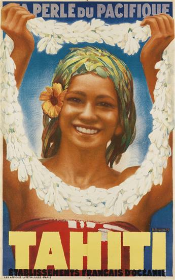 ALBERT DEQUENE (1897-1973). TAHITI / LA PERLE DU PACIFIQUE. 1934. 39x24 inches, 99x63 cm. Les Affiches Lutétia, Paris.