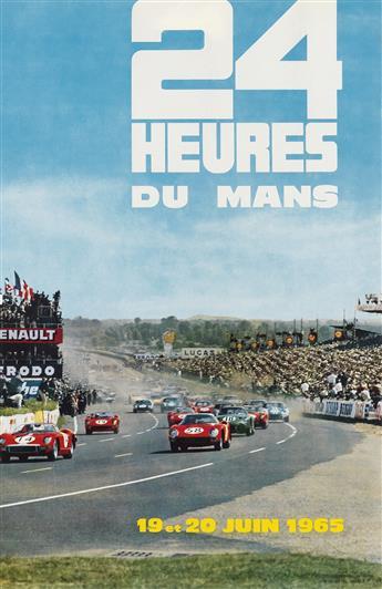 ANDRÉ DELOURMEL (DATES UNKNOWN). 24 HEURES DU MANS. 1965. 23x15 inches, 60x39 cm. Oberthur, Rennes.