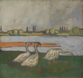JEAN ÉMILE LABOUREUR (Nantes 1877-1943 Pénestin) A River Landscape with Geese.