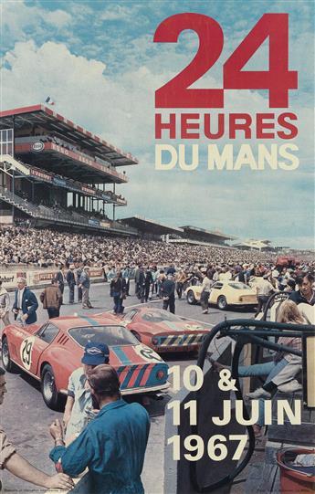 ANDRÉ DELOURMEL (DATES UNKNOWN). 24 HEURES DU MANS. 1967. 22x14 inches, 57x36 cm. Oberthur, Rennes.