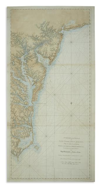 DES BARRES, JOSEPH FREDERICK WALLET. A Chart of the Coast of New York, New Jersey, Pensilvania, Maryland, Virginia, North Carolina, &c.