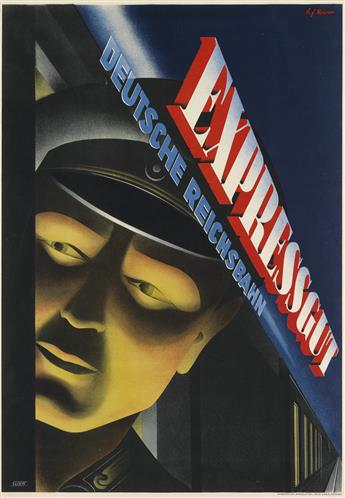 HANNES F. NEUNER (1906-1978). EXPRESSGUT DEUTSCHE REICHSBAHN. Circa 1939. 32x22 inches, 82x57 cm. S. Malz, Berlin.