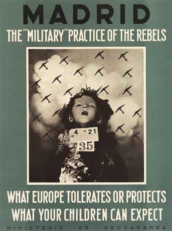 DESIGNER UNKNOWN. MADRID / THE MILITARY PRACTICE OF THE REBELS. 1937. 26x19 inches, 66x49 cm.