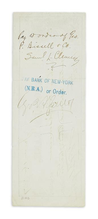 TWAIN, MARK. Check endorsed, Pay to order of Geo. / P. Bissell & Co. / Saml L. Clemens, on verso, payable to Twain from his publishe