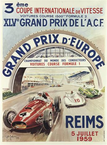 JEAN DES GACHONS (1871-1951). GRAND PRIX D'EUROPE / REIMS. 1959. 25x18 inches, 64x47 cm. Debar, Reims.