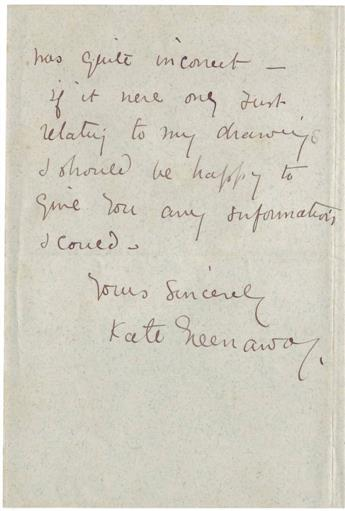 GREENAWAY, KATE. Two items: Autograph Letter Signed * Partly-printed Document Signed.