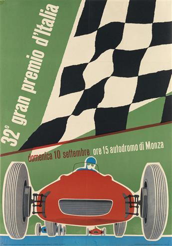 DESIGNER UNKNOWN. 32° GRAN PREMIO D'ITALIA. 1961. 26x18 inches, 66x47 cm. Fratelli Azzimonti, Milan.
