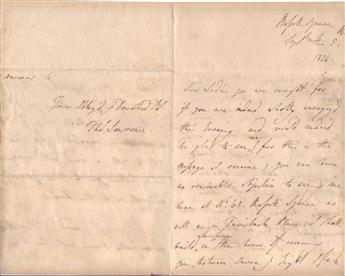 LAWRENCE, THOMAS; SIR. Two items: Autograph Letter Signed * Autograph Note Signed, in third person within the text.