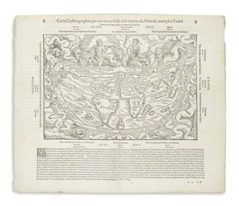 APIAN, PETER; after FRISIUS, GEMMA. Carte Cosmographicque, ou Universelle Description du Monde, Avecq les Ventz.