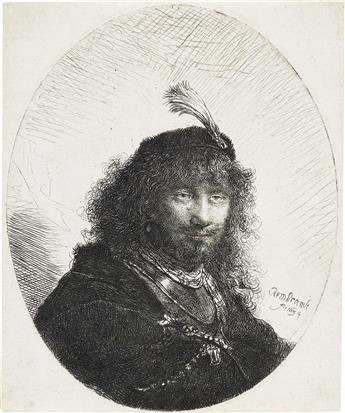 REMBRANDT VAN RIJN Self Portrait with Plumed Cap and Lowered Sabre.