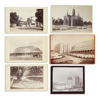 (MORMONS.) Group of 6 cabinet card photographs of the Mormon Tabernacle and other Salt Lake City views.