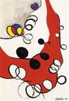 ALEXANDER CALDER Loops on Gray and Red.