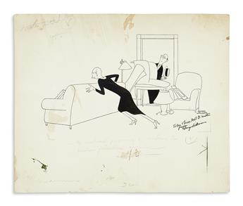 WILLIAMS, GLUYAS. Ink drawing Inscribed and Signed, twice, to Mr. and Mrs. Robert D. Smith,
