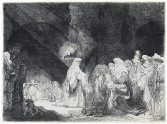 REMBRANDT VAN RIJN The Presentation in the Temple: Oblong Print.