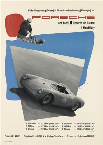 ERICH STRENGER (1922-1993). PORSCHE / MONTHLERY. 1955. 23x16 inches, 59x42 cm.