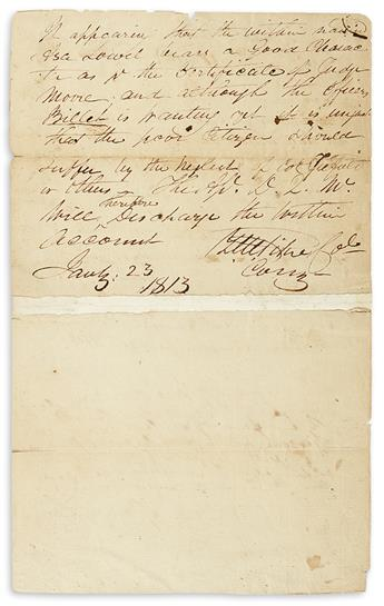 PIKE, ZEBULON MONTGOMERY. Autograph Endorsement dated and Signed, ZMPike Col / Comg, 12 lines on the verso of a request to pay Asa L