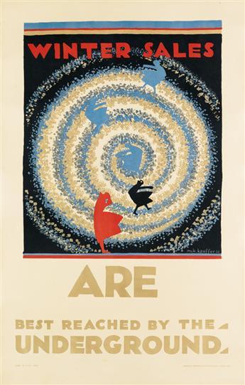 EDWARD MCKNIGHT KAUFFER (1890-1954). WINTER SALES ARE BEST REACHED BY THE UNDERGROUND. 1922. 39x24 inches, 100x62 cm. Vincent Brooks Da