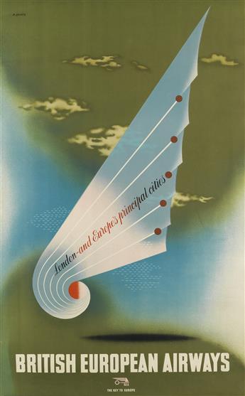 ABRAM GAMES (1914-1996). BRITISH EUROPEAN AIRWAYS. 1946. 39x24 inches, 100x62 cm. The Baynard Press, [London.]