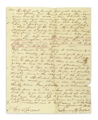 (MORMONS.) Goddard, James M. Letter describing the settlement at Nauvoo.