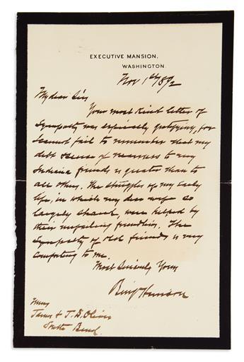 HARRISON, BENJAMIN Autograph Letter Signed, BenjHarrison, as President, to James & J.D. Oliver,