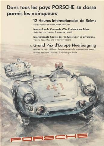 ERICH STRENGER (1922-1993). DANS TOUS LES PAYS PORSCHE SE CLASSE PARMIS LES VAINQUEURS. 1954. 23x16 inches, 59x68 cm.