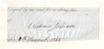 JOHNSON, ANDREW. Signature, as President, on a clipped portion of a document,