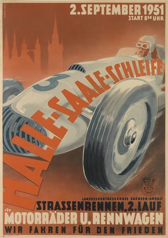 DESIGNER UNKNOWN. HALLE - SAALE - SCHLEIFE / MOTORRÄDER U. RENNWAGEN. 1951. 33x23 inches, 83x59 cm. Dewag Werbung, Erfurt.
