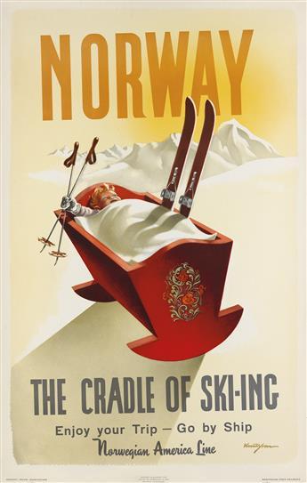 KNUT YRAN (1920-1998). NORWAY / THE CRADLE OF SKI - ING. 1955. 39x24 inches, 99x63 cm. Grondahl & Son, [Oslo.]