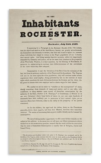 (SLAVERY AND ABOLITION.) To the Inhabitants of Rochester.