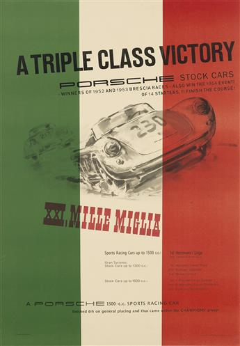 ERICH STRENGER (1922-1993). PORSCHE / A TRIPLE CLASS VICTORY / XXI. MILLE MIGLIA. 1954. 39x27 inches, 99x68 cm. F. Porsche, Stuttgart.