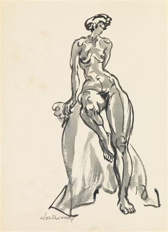 JOSEPH DELANEY (1904 - 1991) Pair of nude drawings.