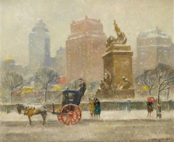GUY C. WIGGINS Winter Along Central Park.